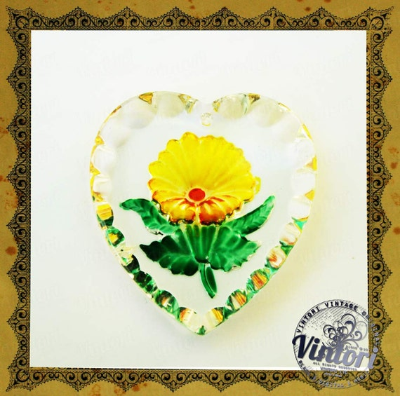 Vintage czech cut glass stone heart shaped flower pendant