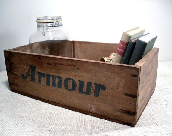 Vintage Wood Shipping Crate - Wooden Crate - Industrial Storage