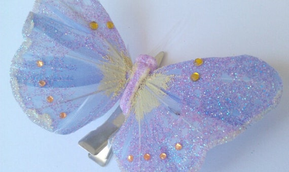 Light Purple Butterfly Hair Clip with Glitter and Gold Rhinestones