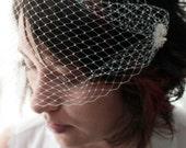 Bridal white hair fascinator birdcage veil