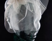 Ivory bridal hair fascinator accessory--blusher veil