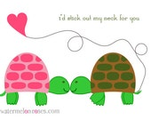 I'd stick my neck out for you - Turtle Love 3.5x5 notecards - set of 6