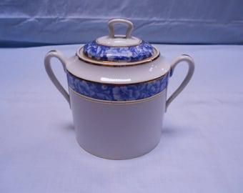 Vintage French Limoges Blue Floral Porcelain Lidded Sugar Bowl