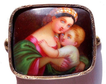 Antique French Hand Painted Miniature Portrait Madonna & Child After Raphael FREE SHIPPING (A122)