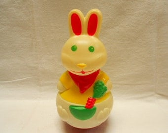Vintage French Lardy Plastic Rabbit Roly Poly Wobble Jingle Toy (A152)