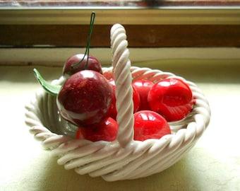 Vintage Italian Faience Cherry Basket (A258)