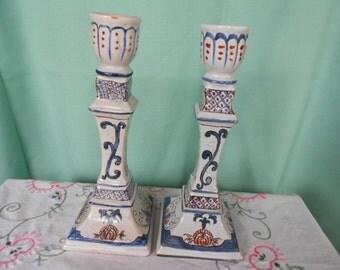 Pair of French Vintage Handpainted Décor de Rouen Candle Sticks (A291)