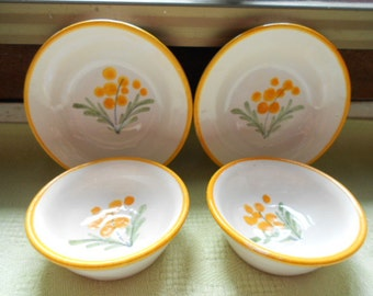 4 Piece lot of Quimper Handpainted Faience Dollhouse Miniature Dishes (A276)