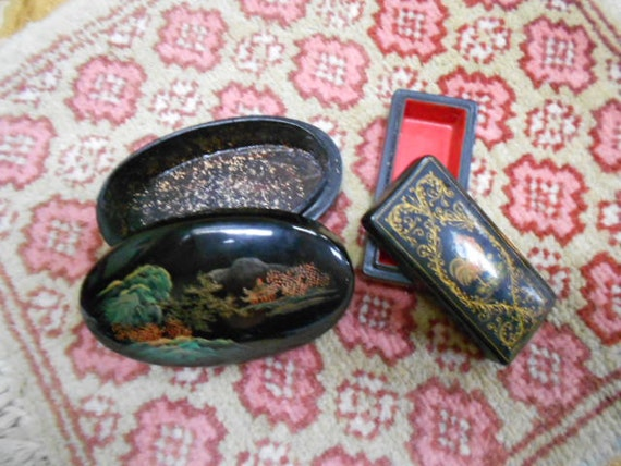 Vintage Pair of Japanese Black Lacquered Boxes