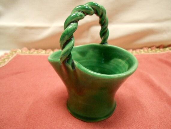 Vintage French Emerald Green Majolica Basket