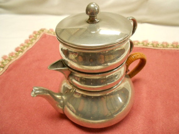 Vintage French Pewter Tea Service for One (1109S129)