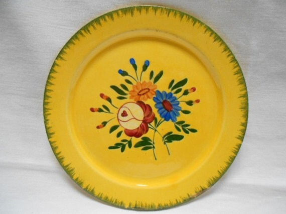 Vintage French Longchamp Handpainted Floral Faience Dessert Plate (A049)