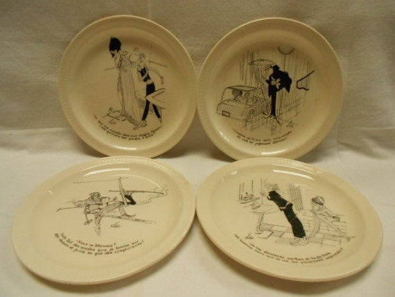Set of 4 French Vintage Saint Amand Cartoon Humorous Dessert Plates (A176)