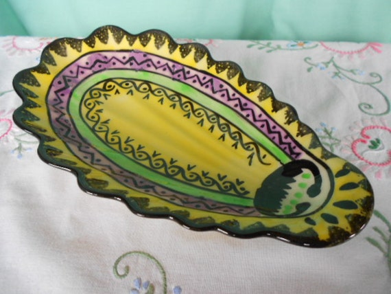 HB Quimper Vintage French Handpainted Avocado Dish (A293)