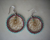 Dream Catcher Earings turquoise green and burnt red