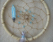 Turquoise Blue Beaded Feather Dream Catcher
