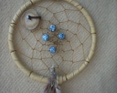 Dream Catcher with Deer Antler and Blue Swirled Beads