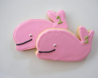 1 dozen Pink or Blue Whale Sugar Cookies Free Personalization Ocean or Nautical themed decorated cookies