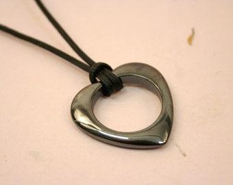 Hematite Heart Necklace, Large Black Stone Open Heart Pendant