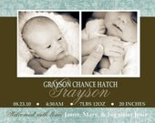Photo Birth Baby Announcement (Digital or Print Yourself) custom, personalized