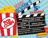 Movie Birthday Party Invitation -- Boy Birthday Invitation -- custom, digital, personalized, printable birthday invite