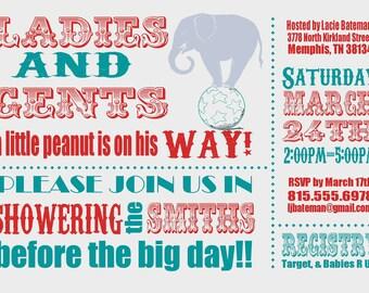 Circus Baby Shower Invitation -- digital, custom, printable -- Baby Boy-- Baby Shower Invite