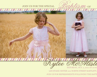 Baptism Invitation -- Baptism Announcement -- boy or girl (custom, digital, printable, photo invite)