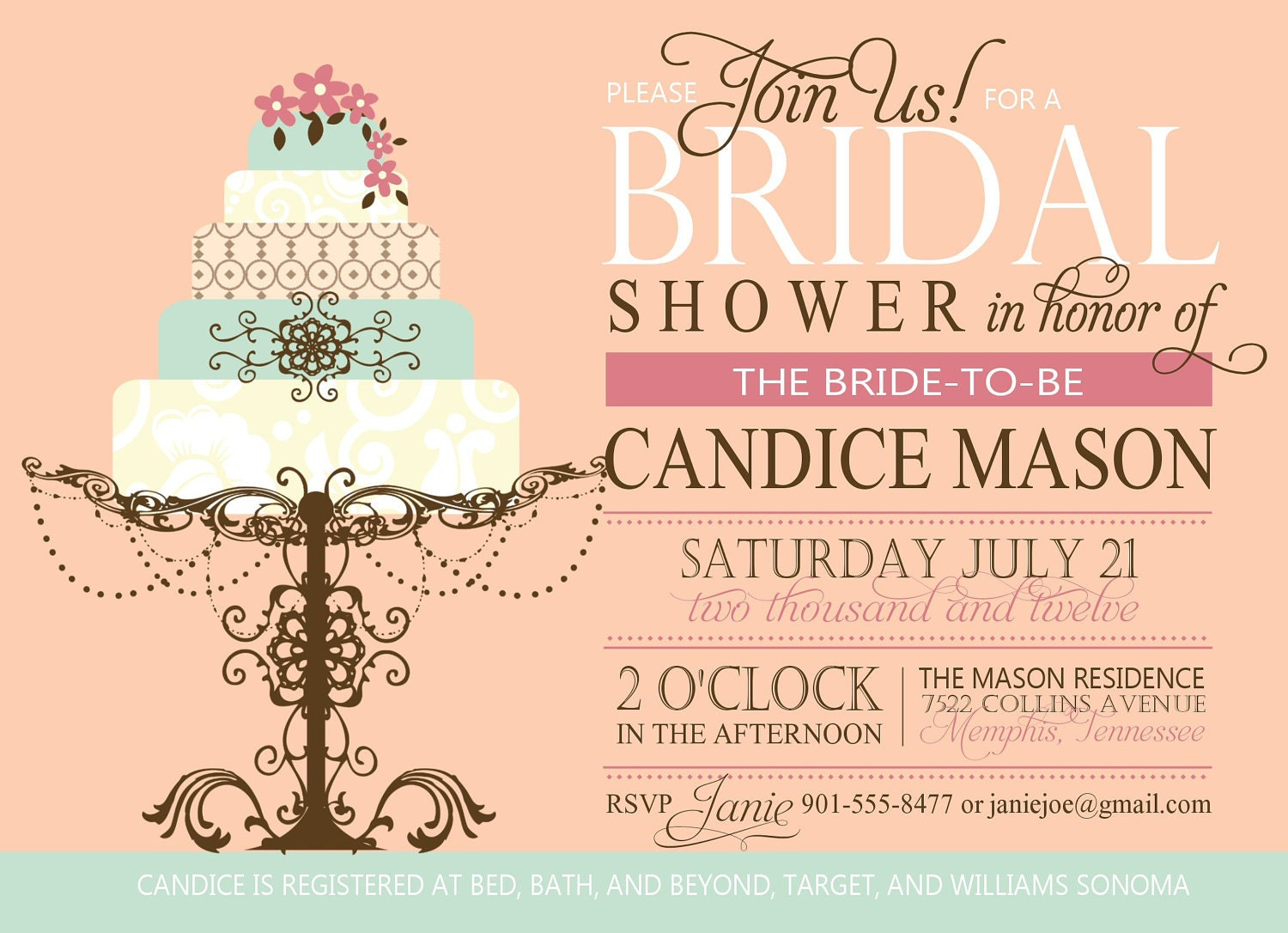 Bridal shower invitation custom printable digital for Invitations for wedding shower