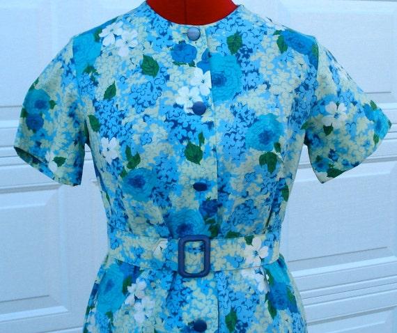 1950's Vintage  New look Atomic Rockabilly blue floral day dress