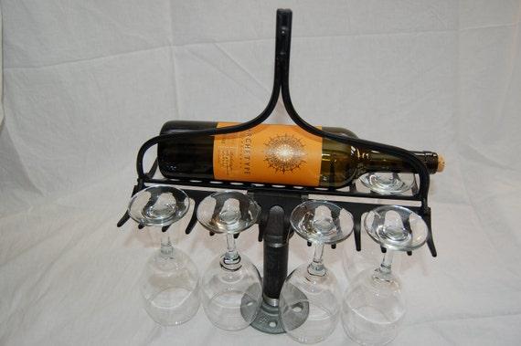 Items Similar To Steel Rake Wine Bottle & Stem Rack On Etsy