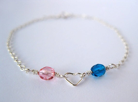"Birthstone ""I Heart You"" Bracelet in Sterling Silver"