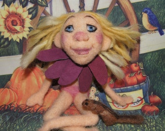Hand Felted Flower Pixie Girl Doll