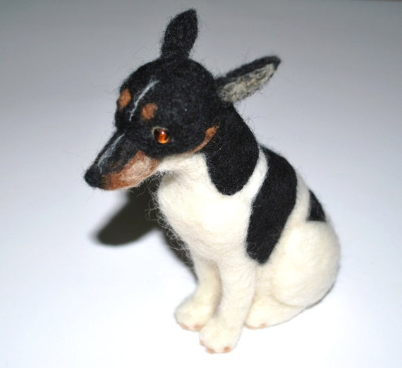 teacup rat terrier hand felted miniature rat terrier dog 2881