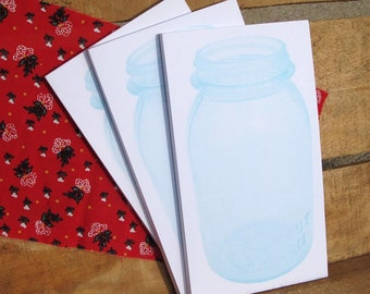 Blue Mason Quart Jar Notepads Set of 3 with Red Flower Fabric Topper