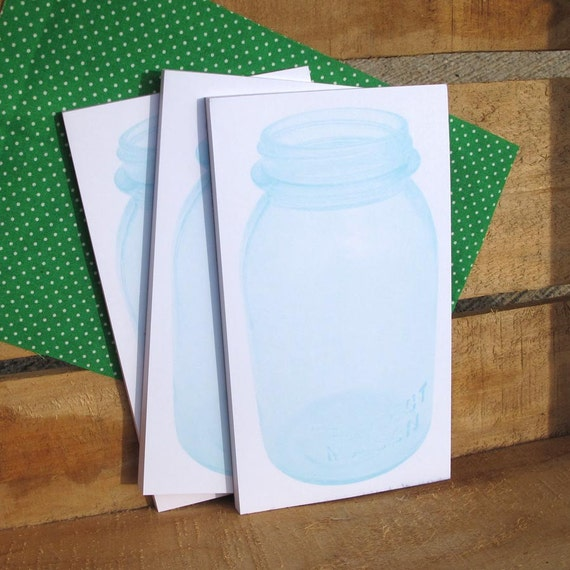 Blue Mason Quart Jar Notepads Set of 3 with Green Polka Dot Fabric Topper