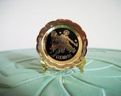 Miniature Gemini plate star sign horoscope brass vintage figurine small collectible
