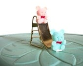 Miniature flocked teddy bears brass blue pink slide playground vintage figurine small collectible
