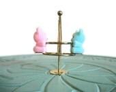 Miniature flocked teddy bears brass swing set merry go round brass playground vintage figurine small collectible