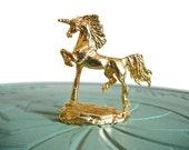 Miniature unicorn brass vintage figurine small collectible