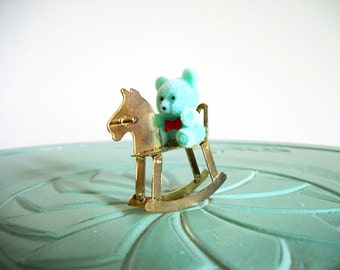 Miniature flocked teddy bear brass blue rocking horse set vintage figurine small collectible