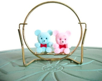 Miniature flocked teddy bears brass blue pink swingset swings playground vintage figurine small collectible