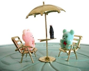 Miniature flocked teddy bears brass table chairs soda umbrella set vintage figurine small collectible