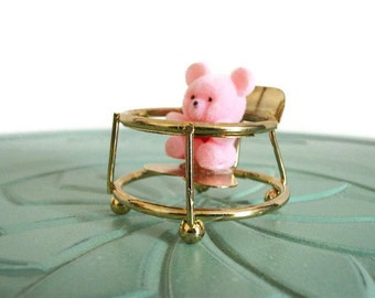 Miniature flocked teddy bear brass pink high chair highchair set vintage figurine small collectible