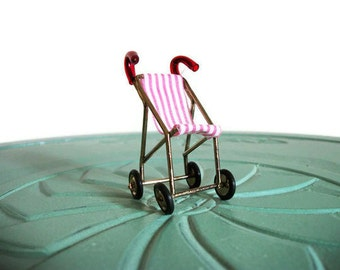Miniature stroller red white stripe brass vintage figurine small collectible
