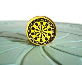 Miniature dartboard yellow black brass retro vintage figurine small collectible
