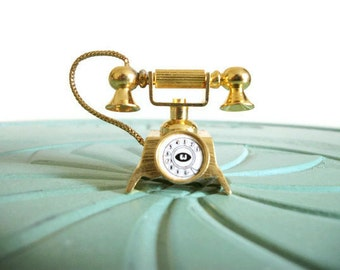 Miniature telephone phone classic old style rotary brass vintage figurine small collectible