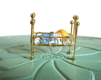 Miniature baby crib bassinet boy blue set brass vintage figurine small collectible