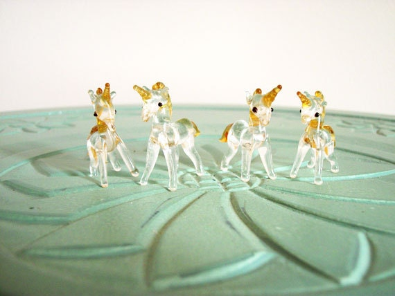 Miniature unicorns animals glass four in set vintage figurine small collectible