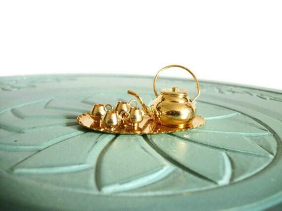 Miniature tea set teapot teacup tea tray brass retro vintage figurine small collectible
