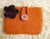 Felted orange purse/bag/clutch with detachable flower